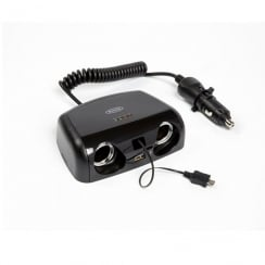 2 way 12V Multisocket with Micro USB & 2A USB