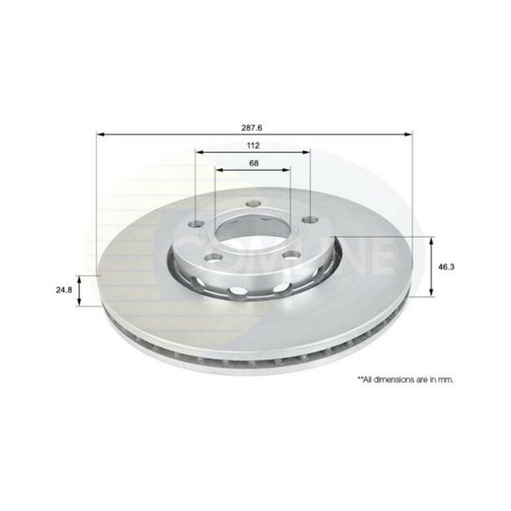 ADC1417V single vented front brake disc for VW Passat B5, Audi A4 (B5/B6),  Seat Exeo