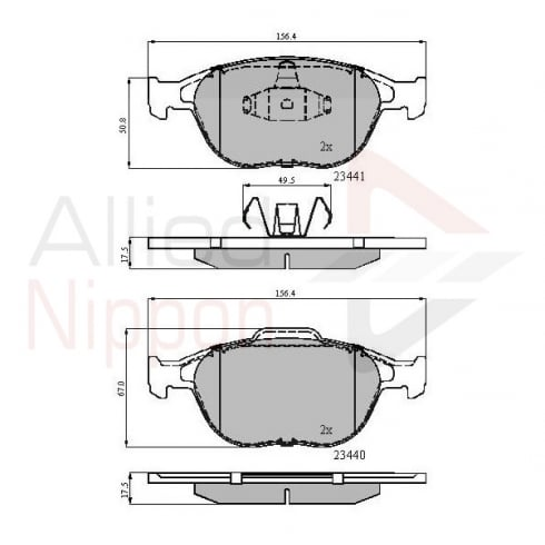 Allied Nippon front brake pads for Ford Transit Connect 1.8 02-2013