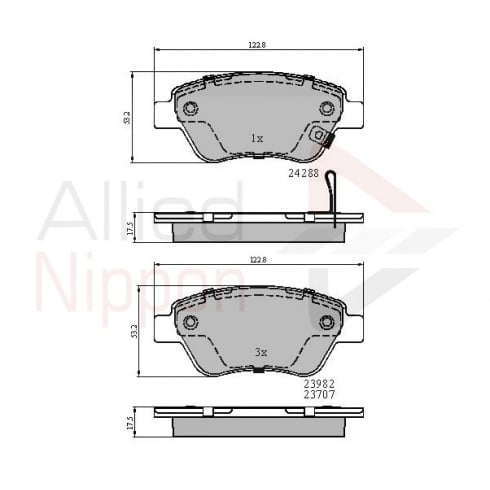 Allied Nippon front brake pad set for Vauxhall Corsa D