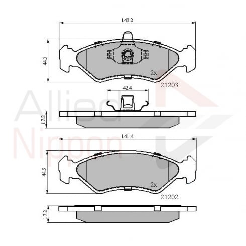 Allied Nippon front brake pads for Ford Fiesta 92-1999, Ford Ka 96-2000, Mazda 121 96>