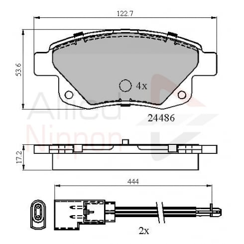 Allied Nippon rear brake pad set for Ford Transit MK7 2006-2012