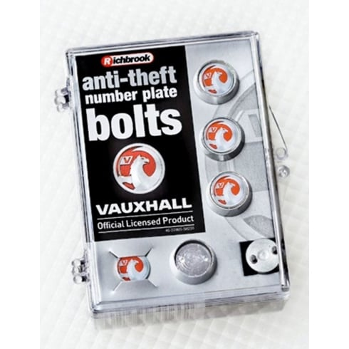anti-theft number plate bolts with official Vauxhall logo (4 bolts in kit)