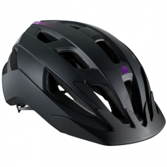 Solstice ladies black/purple cycle helmet with multi-directional impact protection system (MIPS)