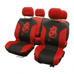 Dragon Motif 8 piece car seat covers set in red