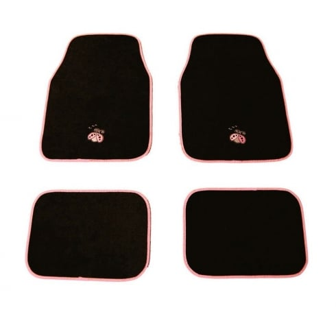 Lady Bug logo pink car mat set.