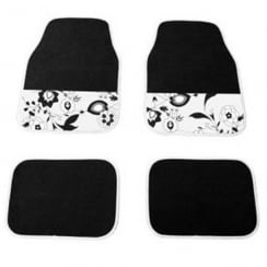 universal black and white flower design car mats (4 piece set)