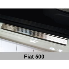 Stainless steel door sill plate protectors for Fiat 500 2008>