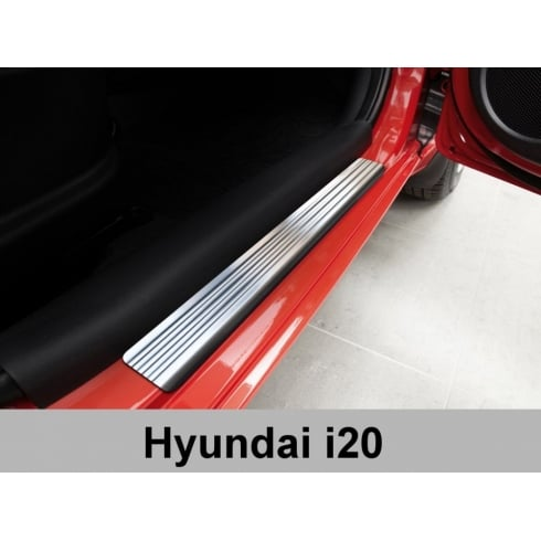 Stainless steel door sill plate protectors for Hyundai i20 2009-2014