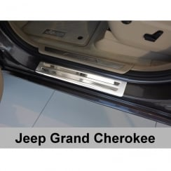 Stainless steel door sill plate protectors for Jeep Grand Cherokee 4 Door SUV 2011 > (WK2 MK4)