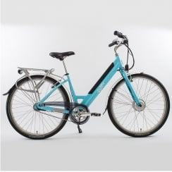 blue low step through electric bike (46cm frame)