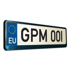 Blue metal effect car number plate surround