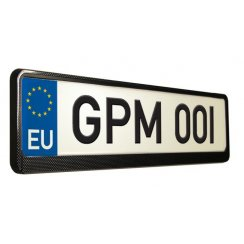Carbon effect car number plate surround