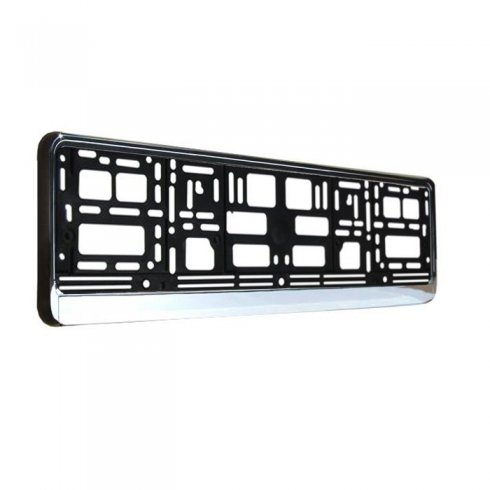 Chrome effect car number plate surround