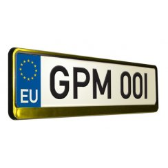Gold metal effect car number plate surround