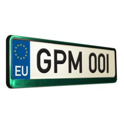 Green car number plate surround