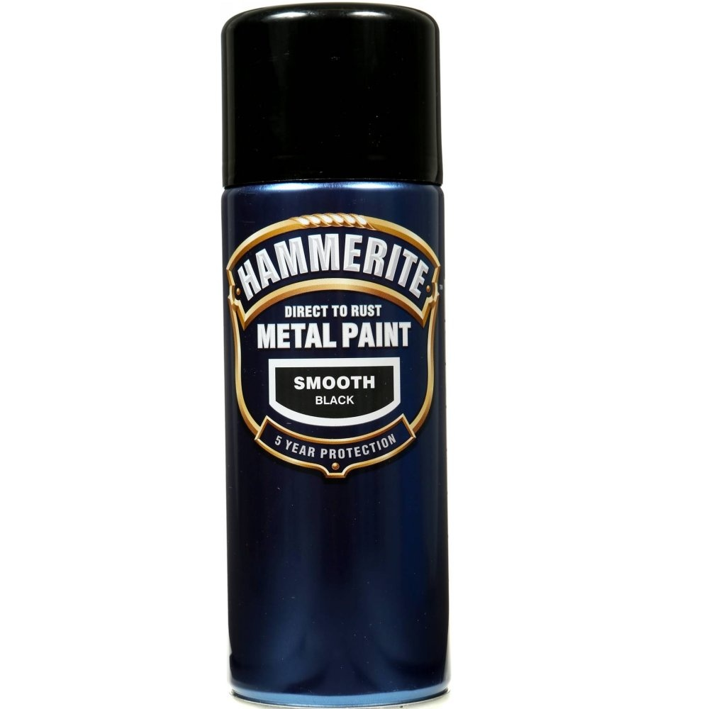 Hammerite Smooth Black Metal Paint 400ml Aerosol