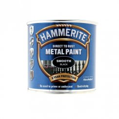 Hammerite smooth metal brushable paint - Black 250ml
