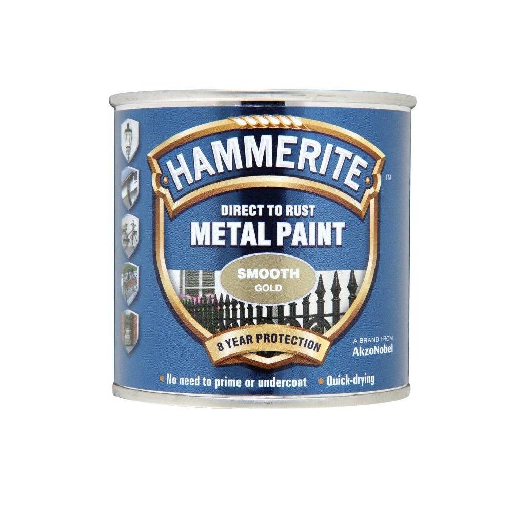 Hammerite Smooth Metal Paint Gold 250ml