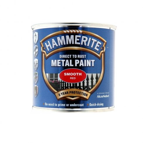 Hammerite smooth metal brushable paint - Red 250ml