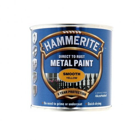 Hammerite smooth metal brushable paint - Yellow 250ml
