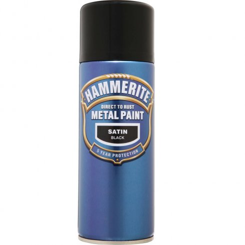 Hammerite smooth satin black aerosol spray paint 400ml