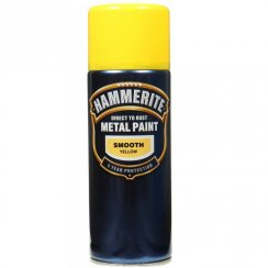 Hammerite smooth yellow metal paint 400ml aerosol
