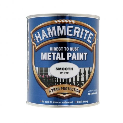 Hammerite white smooth metal brushable paint - 750ml