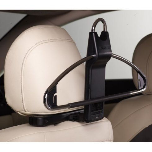 Headster traveling in car coat hanger or clothes hanger for car headrest attachment