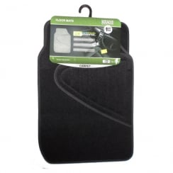 Eco recycled universal black carpet car floor mats (Set of 4)