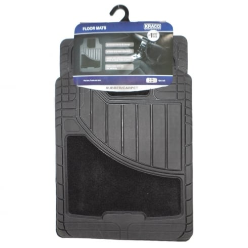 Heavy Duty universal black rubber and carpet car floor mats (Set of 4)