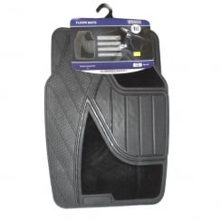 Quality universal black rubber and carpet car floor mats (Set of 4)