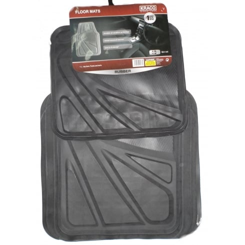 Universal black rubber car floor mats (Set of 4)