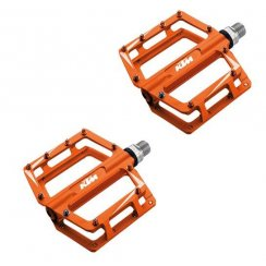 pair of orange freeride platform bike pedals with 20 stainless pins for grip