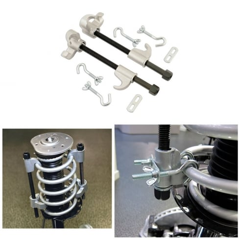coil spring compressor set with safety hooks