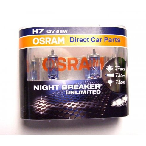 Osram High performance H7 Night Breaker Unlimited car headlight bulbs