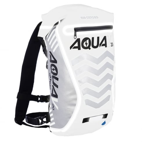 Oxford Products Aqua V20 extreme visibility waterproof white cycle backpack