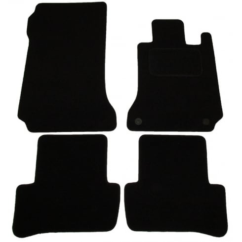 Mercedes C Class black car mats 2007-2014 with round clips