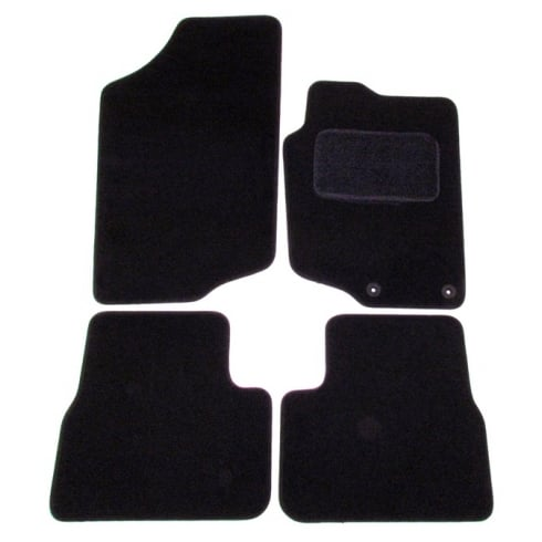 Peugeot 207 black car mats with round clips