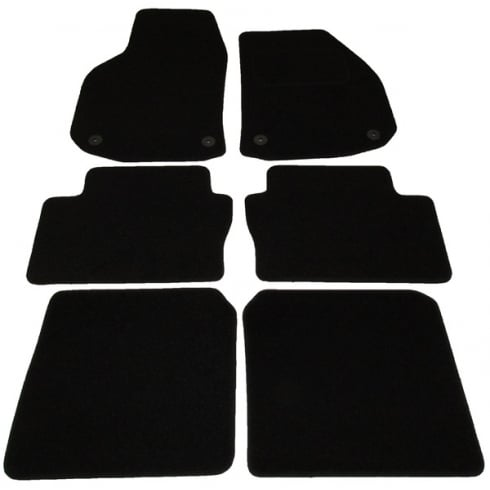 Vauxhall Zafira black car mats 2006> with round clips (6 piece set)
