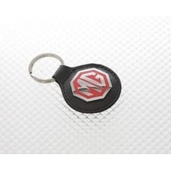 real black and red leather MG keyring