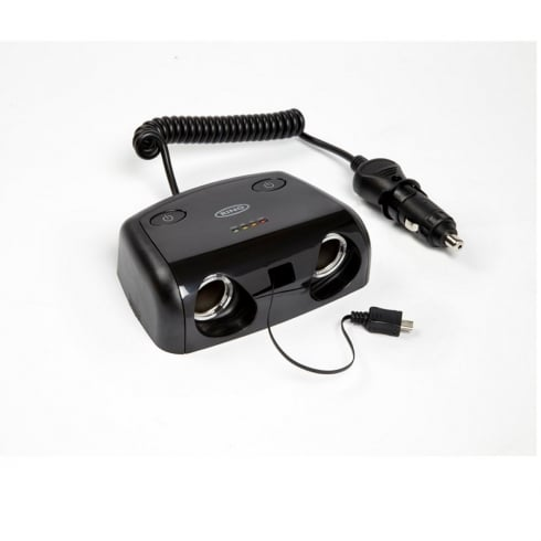 Ring Automotive 2 way 12V Multisocket with Micro USB & Switches