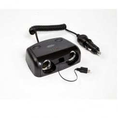 2 way 12V Multisocket with Micro USB & Switches