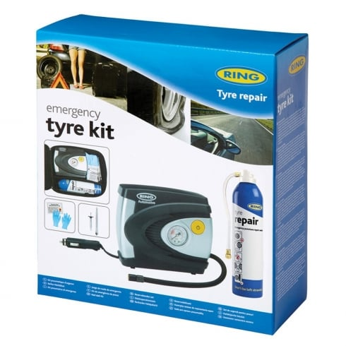 emergency tyre kit with air compressor and tyre sealant