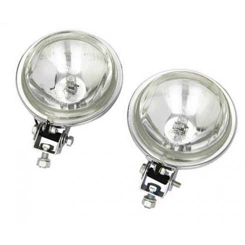 Pair of Chrome driving lights including mounting brackets and fitting instructions