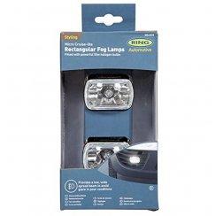 Pair of rectangular micro fog car lights with brackets and bulbs