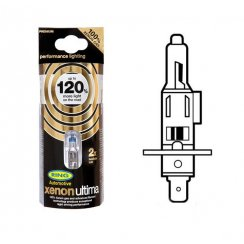 pair of Xenon Ultima +120 halogen H1 headlight bulbs