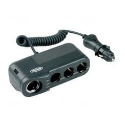 Quadruple multi 12v power socket with battery analyser