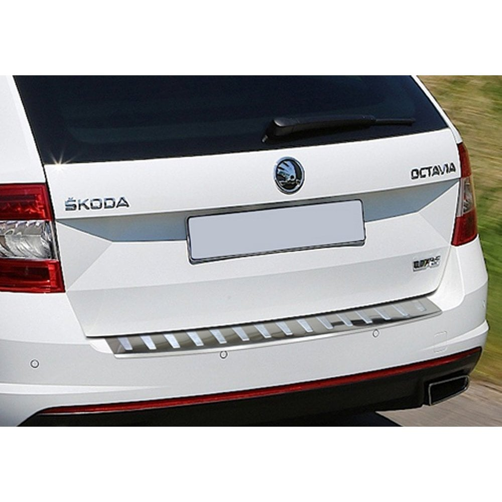 OCTAVIA MK3 SALOON Stainless Steel Chrome Rear Bumper Protector Scratch Guard 2013-2016