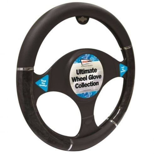 black with grey metallic effect car steering wheel cover